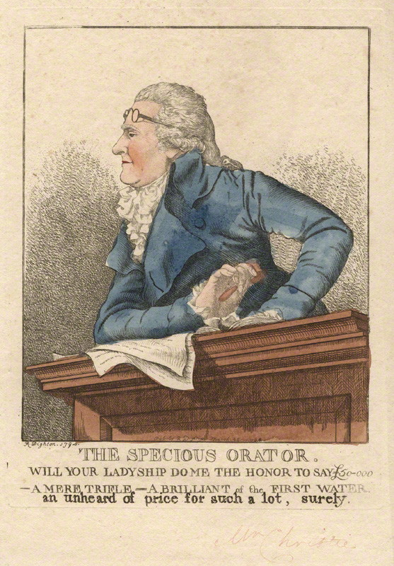 NPG D13402; James Christie ('The specious orator') by and published by Robert Dighton
