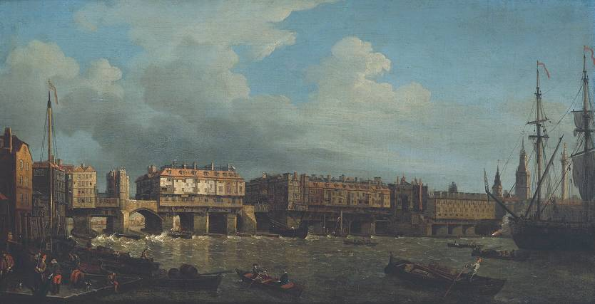 A View of London Bridge before the Late Alterations engraved 1758 by Samuel Scott circa 1702-1772