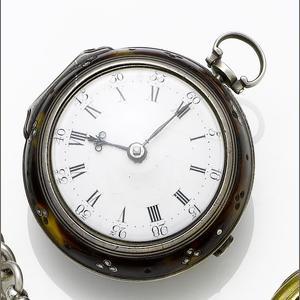 An 18th Century tortoiseshell and silver watch, courtesy of Bonhmas.