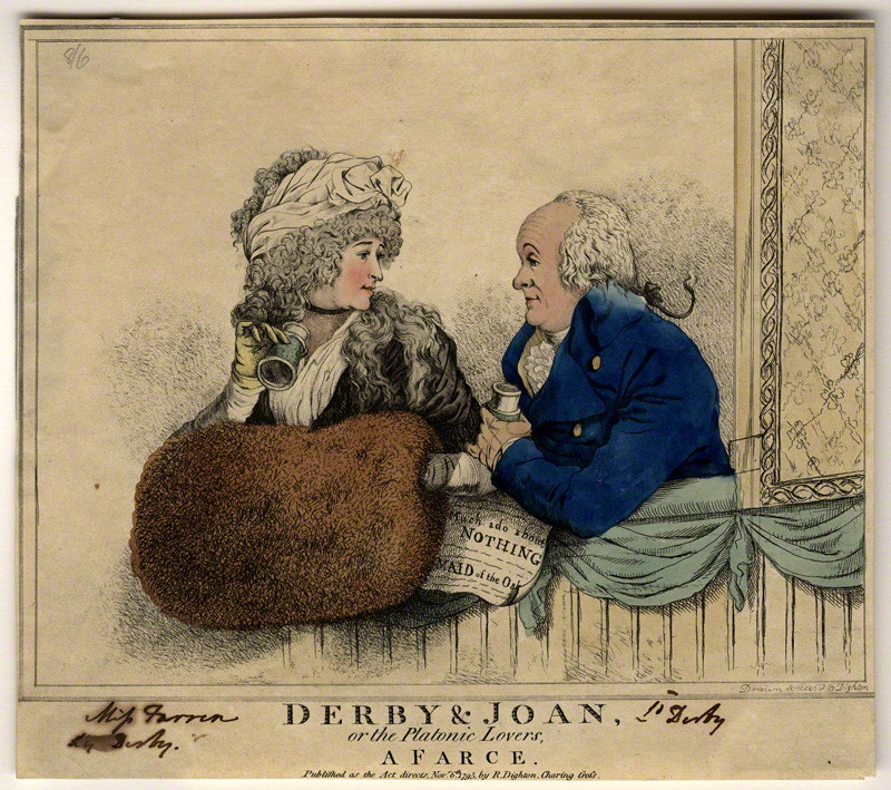 NPG D9306; 'Derby & Joan or the platonic lovers, a farce' (Elizabeth, Countess of Derby; Edward Smith Stanley, 12th Earl of Derby) by and published by Robert Dighton