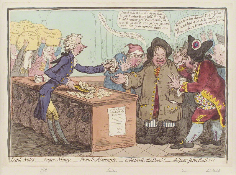 NPG D12601; 'Bank-notes, - paper-money, - French-alarmists, - o, the devil, the devil! - ah! poor John Bull!!!' by James Gillray, published by  Hannah Humphrey
