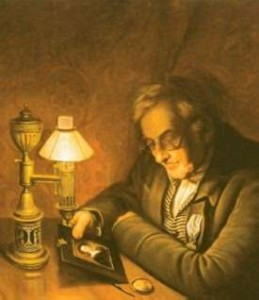 James Peale painted by  his brother Charles Willson Peale in 1826.  The oil lamp is an Argand lamp.
