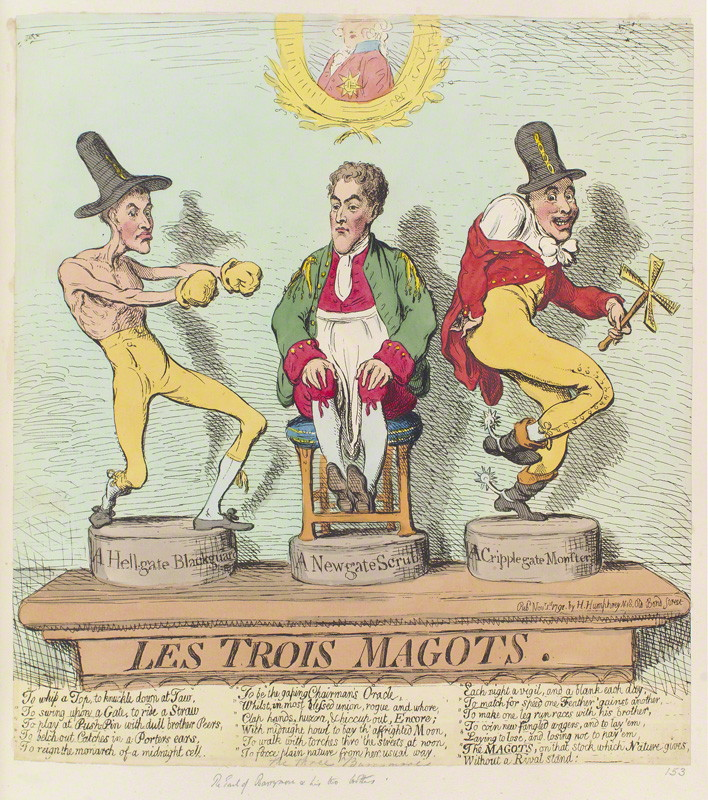 NPG D12429; 'Les trois magots' by James Gillray, published by  Hannah Humphrey