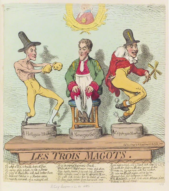 NPG D12429; 'Les trois magots' by James Gillray, published by  Hannah Humphrey