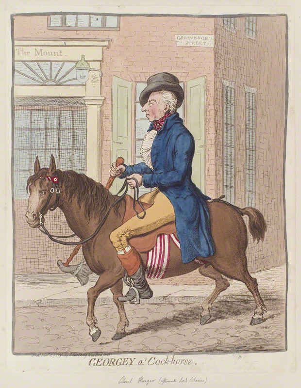 NPG D12584; George Hanger, 4th Baron Coleraine ('Georgey a' cock-horse') by James Gillray, published by Hannah Humphrey