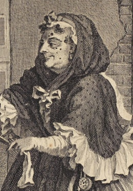 Detail for Hogarth's Harlots Progress, Plate 1, showing the patches on the bawd's pock marked face