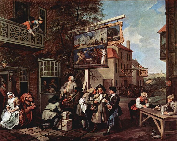 Painting by William Hogarth from 1754, showing  large overhanging street signs.