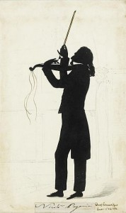 The renowned violinist, Paganini, ferociously fiddling away...
