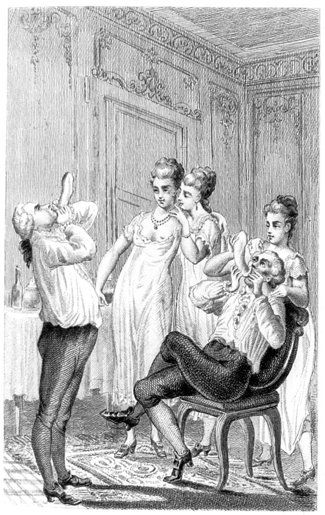 A Victorian print showing Casanova blowing up condoms