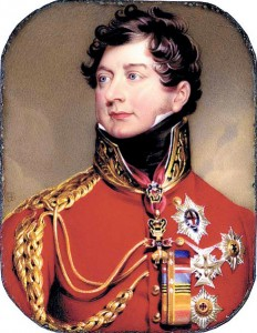 An 1816 portrait of the Prince Regent in all his finery, by Henry Bone (after Sir Thomas Lawrence).