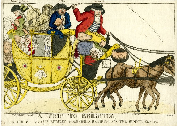 A Trip to Brighton, or, the P- and his reduced household retiring for the summer season, shown courtesy of the British Museum
