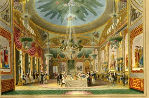 The Banqueting Hall, in a painting form the 1820's  shown courtesy of the British Museum