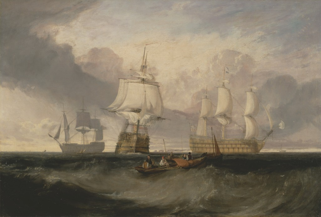 The Vicotry from three different angkles, painted by J M W Turner, shown courtesy of the Yale Center for British Art