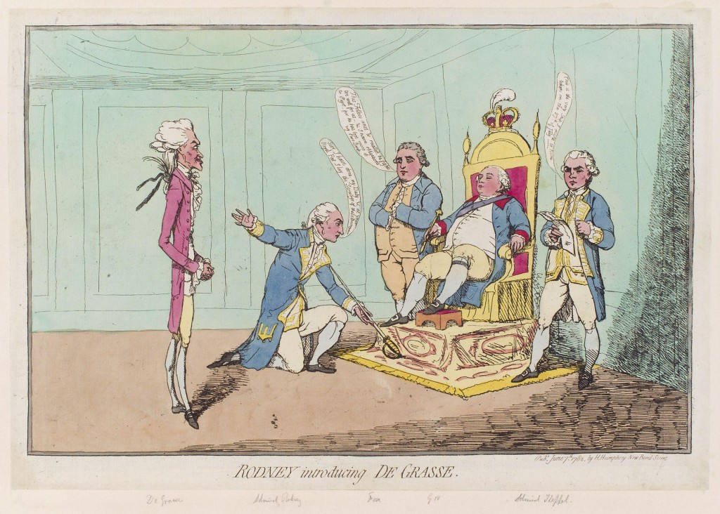 Gillray's caricature of Admiral Rodney presenting the sword of de Grasse to George III