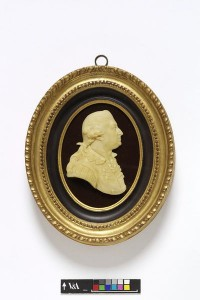 Portrait of David Garrick in wax, courtesy of V & A Museum