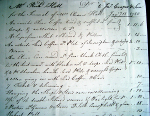 Detail from undertaker's invoice for Eleanor Hall