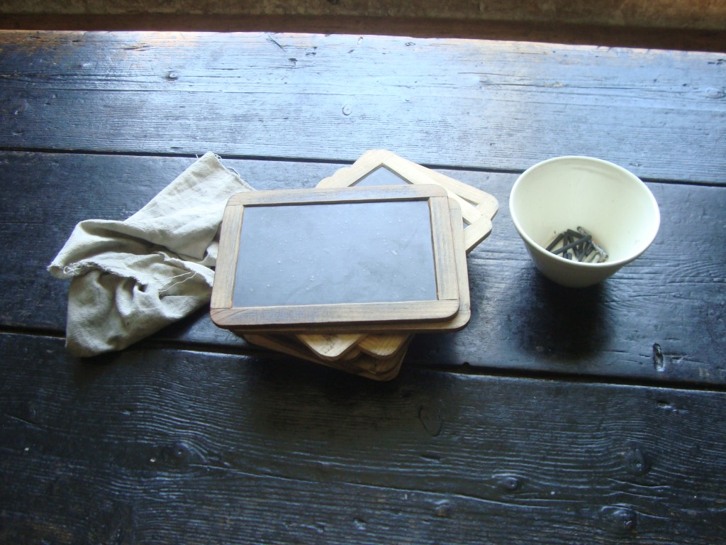 Writing slates and chalk, for doing those confounded letters...
