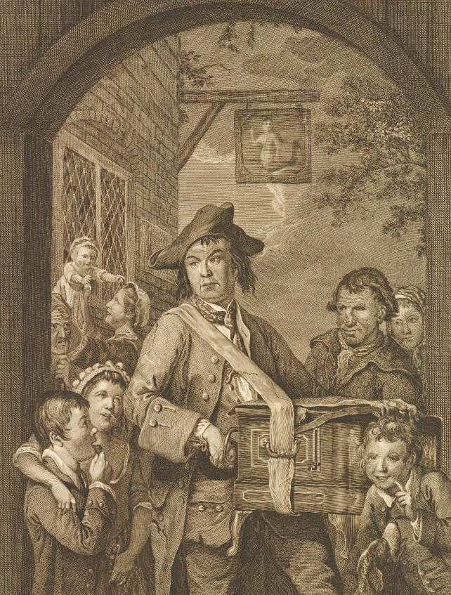 The Travelling Musician', an old soldier playing hurdy-gurdy outside the Mermaid Inn, after John Collet,  1772