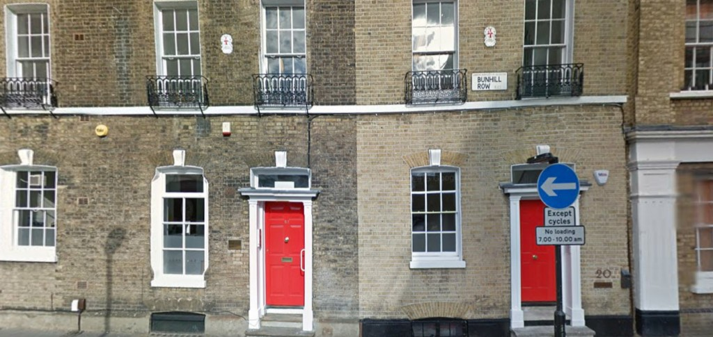 Bunhill Row today, showing houses just down from where Hester had her workshop