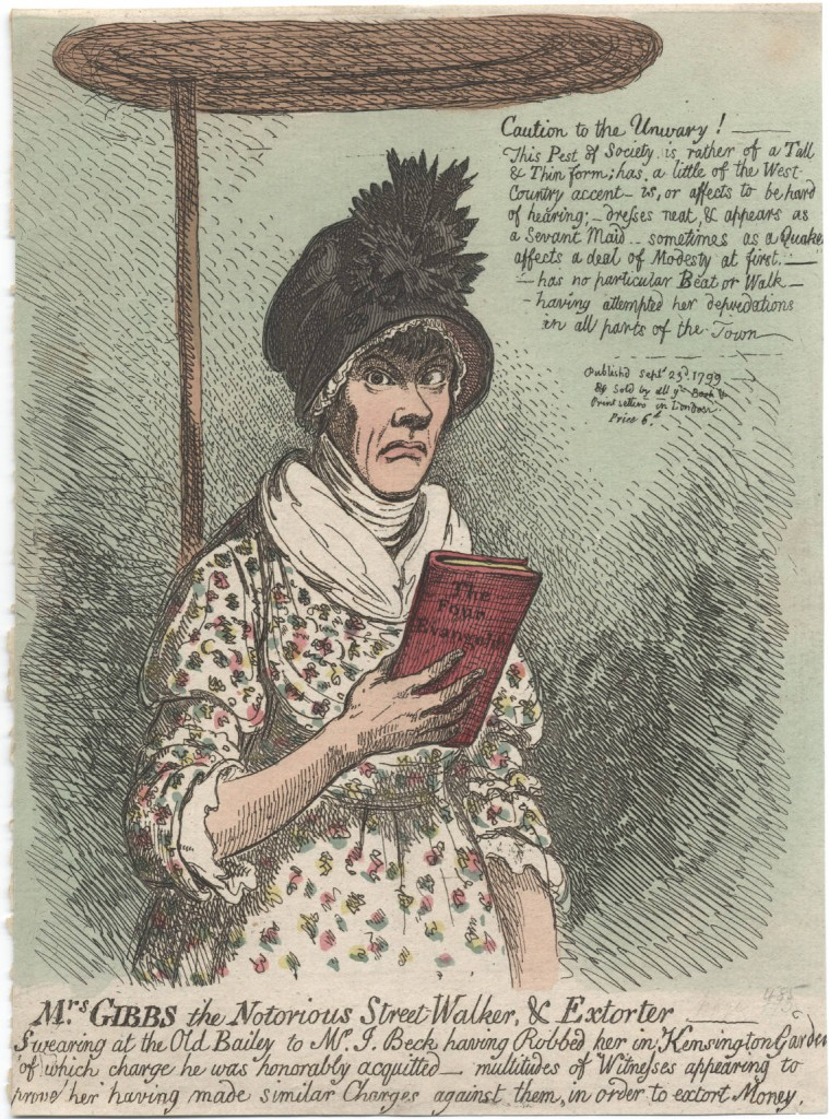 Jane Gibbs, aged 22, giving evidence on the Bible, drawn by James Gillray and published in September 1799