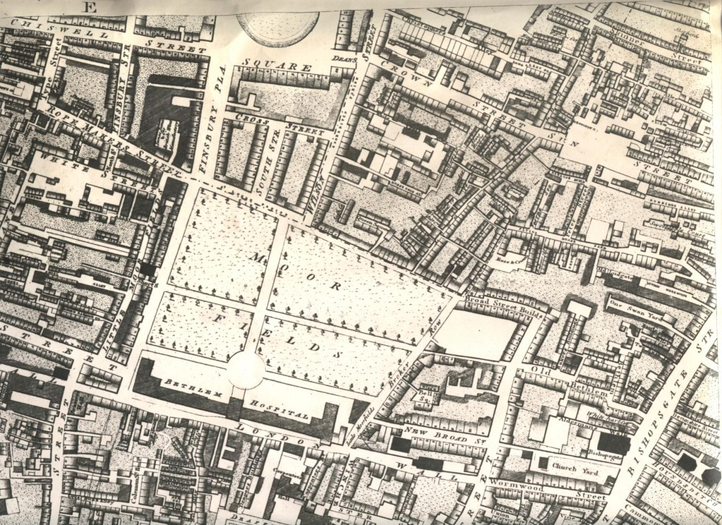 Horwood's map showing Bethlam Fields Hospital (Bedlam) Moorfields  in 1799