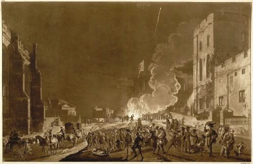 Guy Fawkes night at Windsor Castle, 1776, via Wikipedia