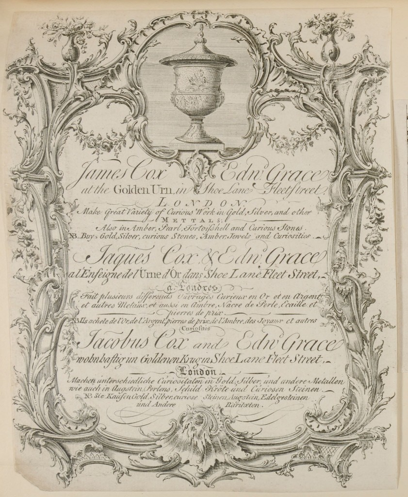 James Cox's trade card, courtesy of the Lewis Walpole Library