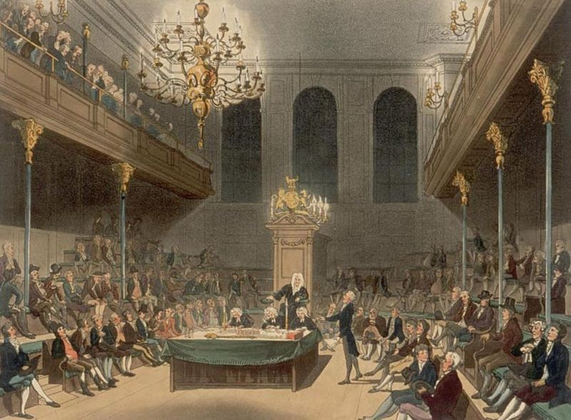 The House of Commons in the early years of the 19th Century, from Ackermann-s Microcosm of London ( a Pugin-Rowlandson collaboration).