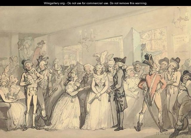 Thomas Rowlandson's 'Foyer at Haymarket Thetare