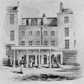 The Haymarket Theatre in 1815, before it was rebuilt o the design of John Nash