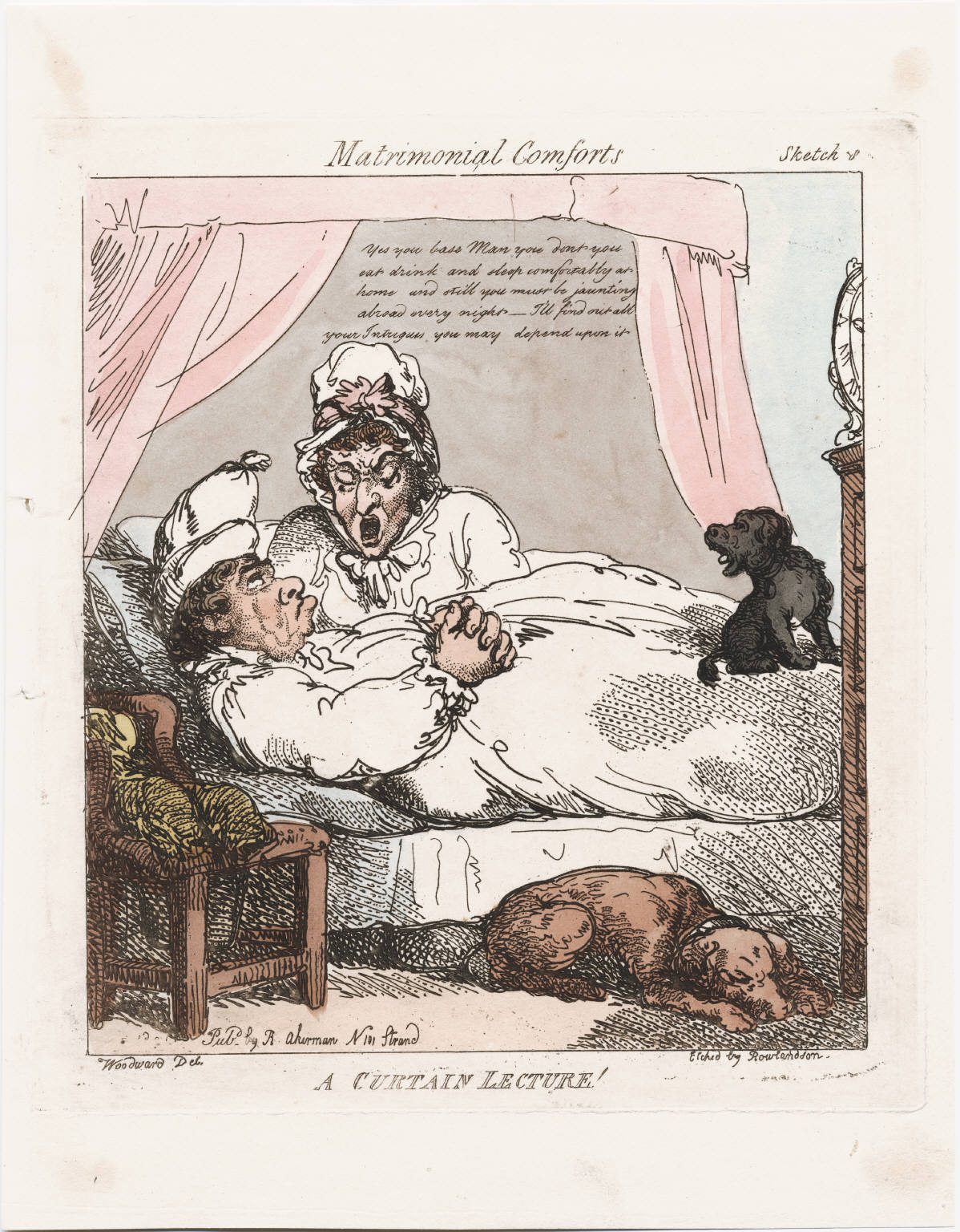 Woodward Rowlandson etched Curtain Lecture 1800  lwl