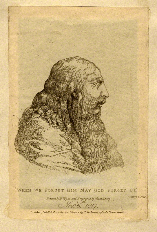 The elderly George III by Wilson Lowry, after  Matthew  ,Cotes Wyatt, and shown courtesy of the National Portrait Gallery etching, 1817