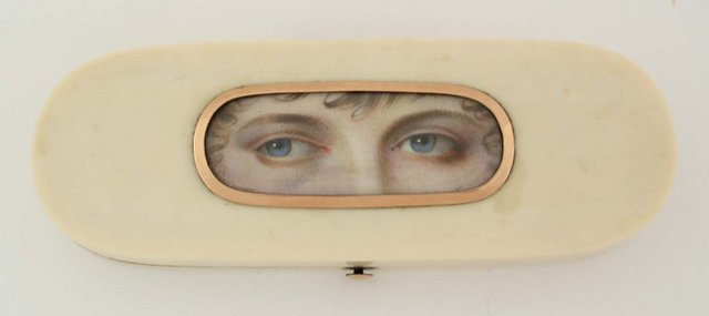 Eyes on an ivory patch box, 1790's.