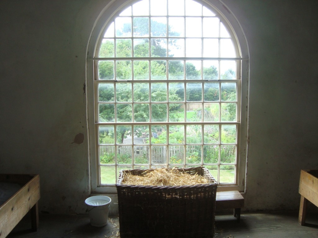 A loo with a view - slop bucket and basket of straw, girls backsides, for the use of... slp