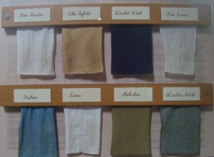 Display of all the differe t types of material made using cotton, from fustian to moleskin