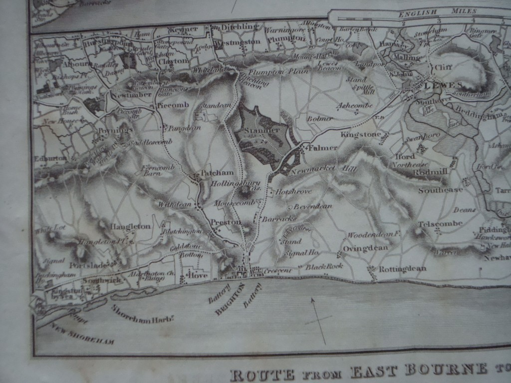 Extract from Paterson's map showing the route between East Bourne and New Shoreham