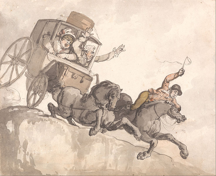 Stage coach travel was never without its risks - here, Rowlandson's The Runaway Coach shown courtesy of the Yale Center for British Art.