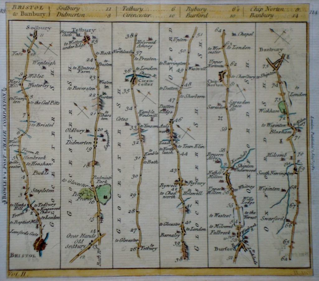 Bowles Post Chaise Compoanion showing a linear map of the journey from Bourton to Bristol (own copy).