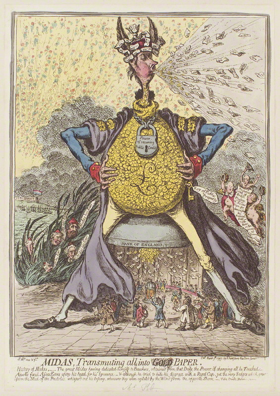 NPG D12603; 'Midas, transmuting all, into paper' by James Gillray, published by  Hannah Humphrey