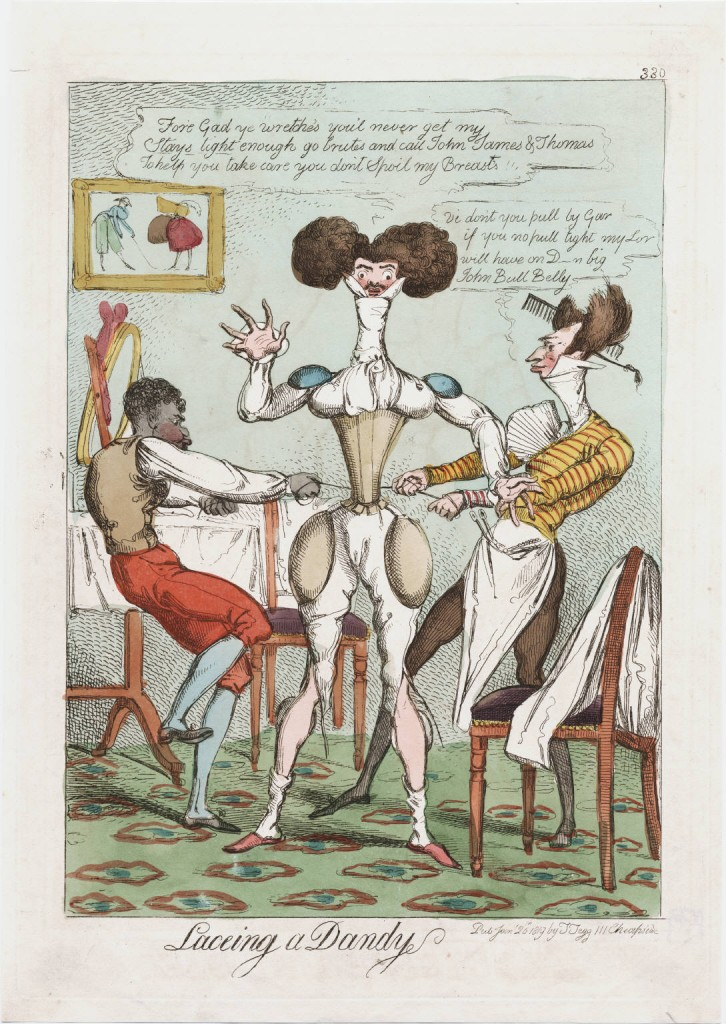 """Laceing a dandy"" published by Thomas Tegg in 1819"