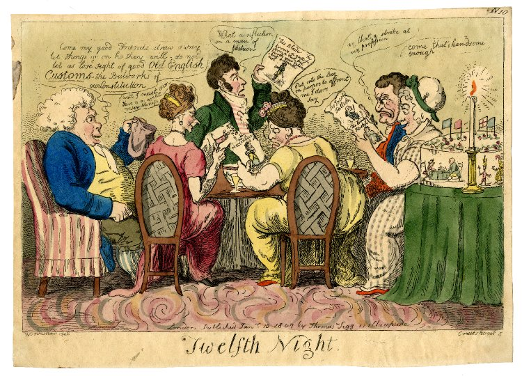 Twelfth Night, by Thomas Tegg, 1807. © The Trustees of the British Museum: A party of men and women round a table look at caricatures of themselves.