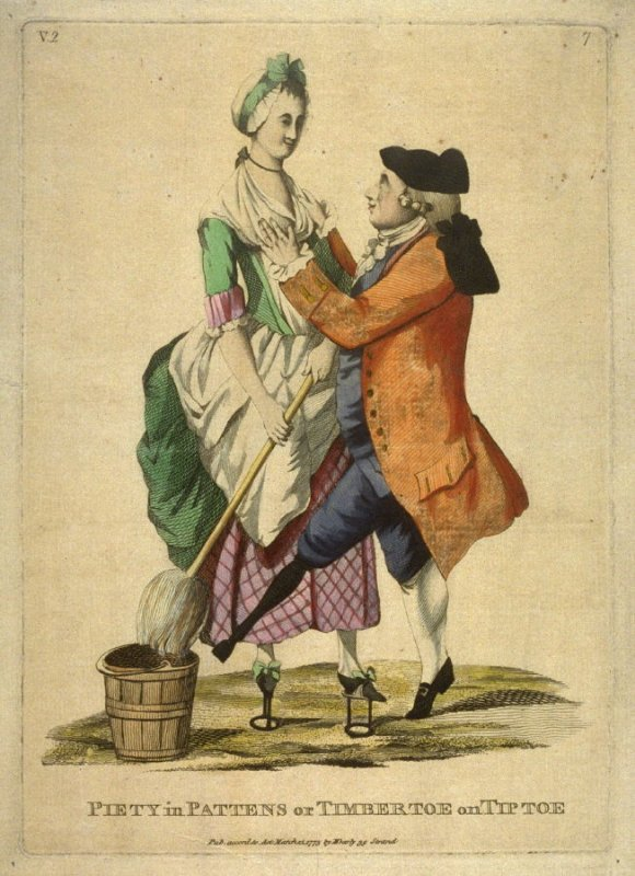 Pattens, circa 1720, courtesy of the V&A