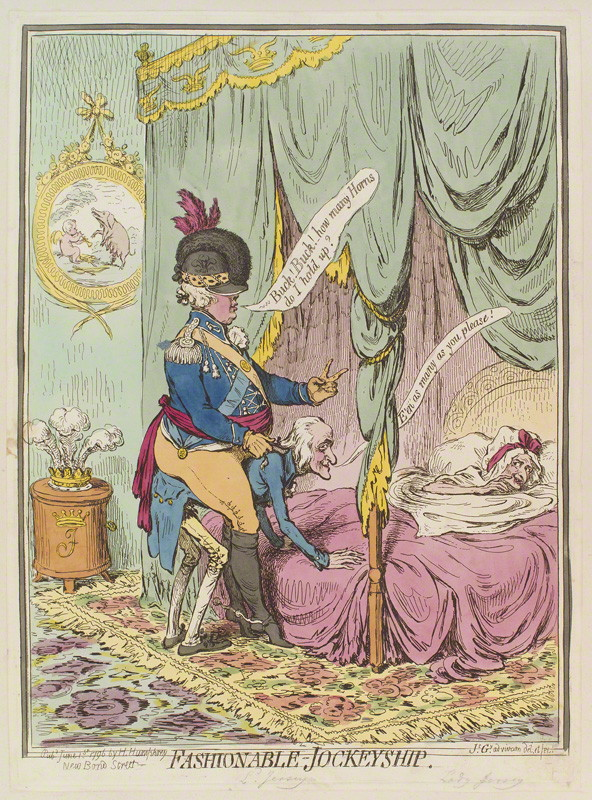 NPG D13025; 'Fashionable-jockeyship' by James Gillray, published by Hannah Humphrey