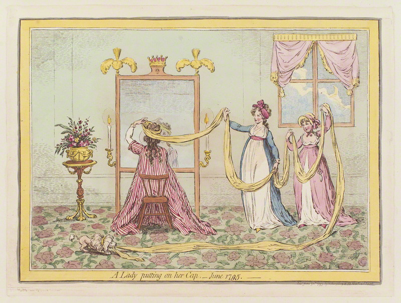 'A lady putting on her cap, - June 1795' by James Gillray © National Portrait Gallery, London