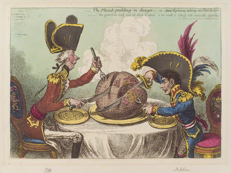 The Plumb pudding in danger, by James Gillray, published by  Hannah Humphrey, © National Portrait Gallery,